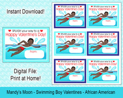 Swimming Boy Valentine Cards - African American - Digital Print at Home Valentines cards, Instant Download