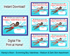 Swimming Boy Valentine Cards - Medium and Dark Skin Assortment -  Digital Print at Home Valentines cards, Instant Download
