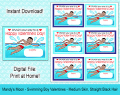 Swimming Boy Valentine Cards - Medium Skin, Straight Black Hair - Digital Print at Home Valentines cards, Instant Download