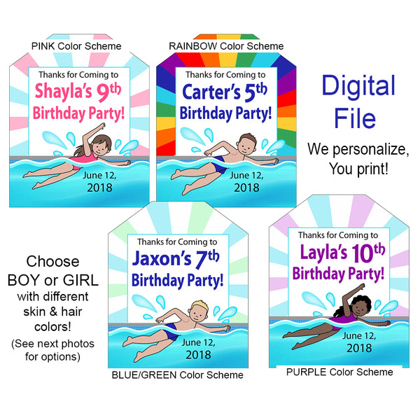Swimming Boy or Girl Favor Tags - DIGITAL FILE