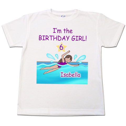 Swimming Girl Birthday T Shirt