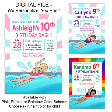 Swimming Girl Party Invitation - DIGITAL FILE