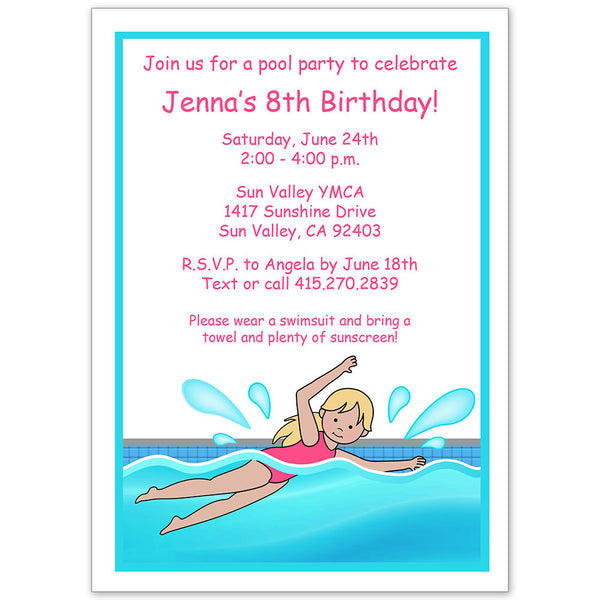 Swimming Girl Pool Party Invitation