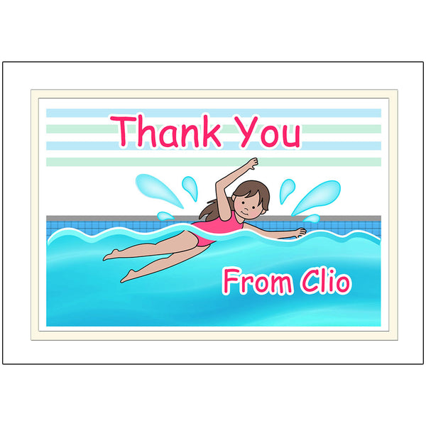 Swimming Girl Personalized Thank You Note Cards