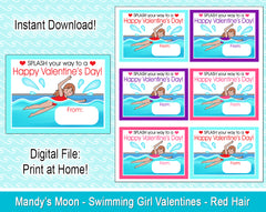Swimming Girl Valentine Cards - Red Hair - Digital Print at Home Valentines cards, Instant Download