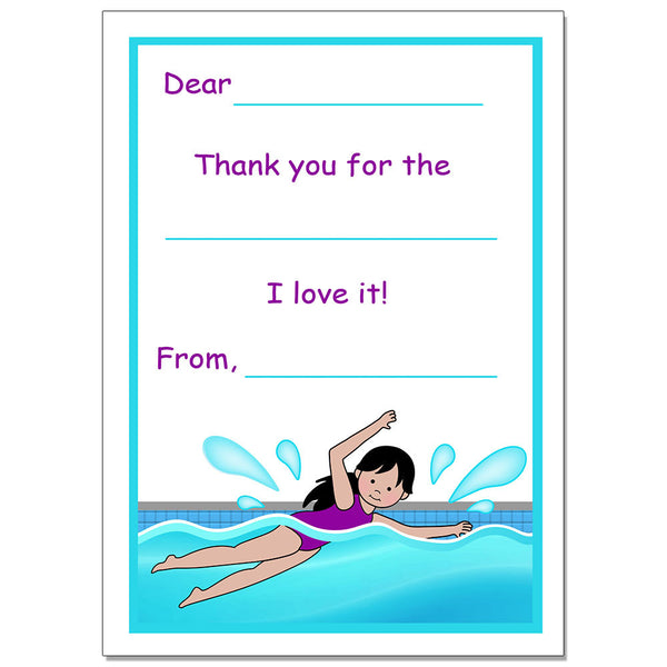 Swimming Girl  Fill in the Blank Thank You Note Cards