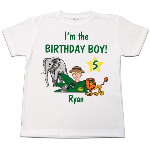 Jungle Safari Boy Birthday T Shirt