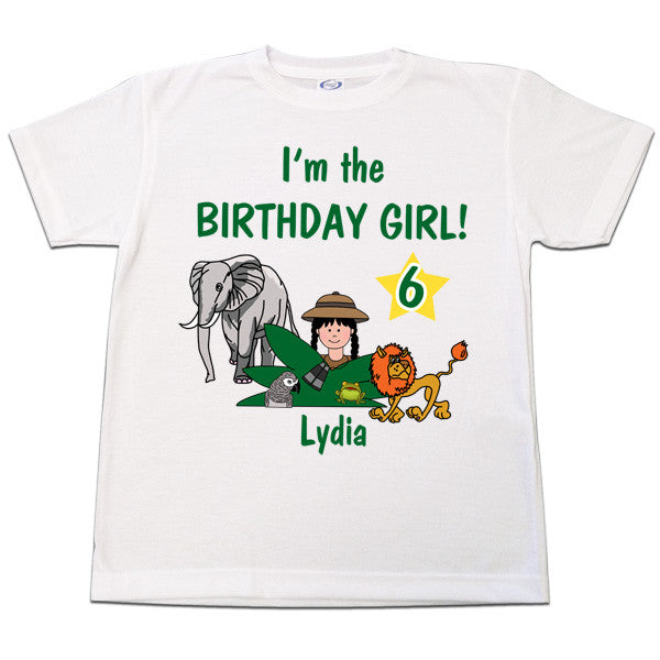 Jungle Safari Girl Birthday T Shirt