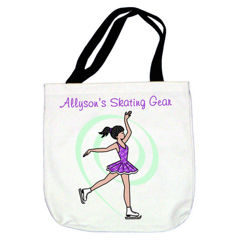 Ice Skating Tote Bag - Dainty Swirl Skater