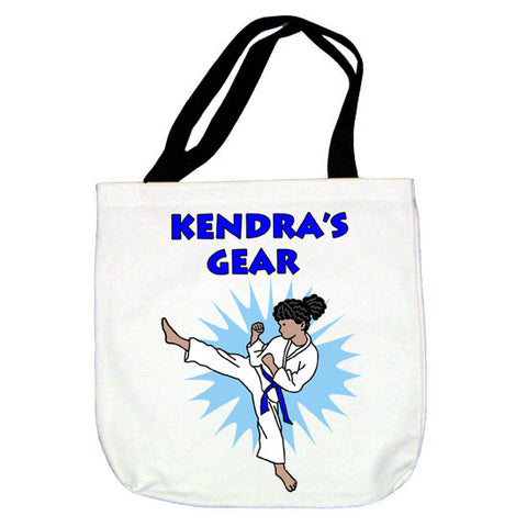 Karate or Martial Arts Girl Tote  Bag - Kick Design