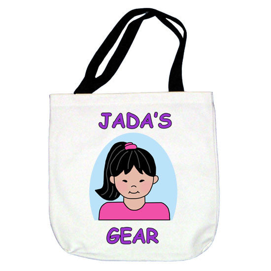 Cartoon Kids Personalized Tote Bag - Girl