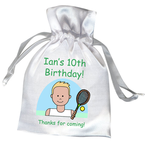 Tennis Boy Personalized Birthday Party Favor Bag