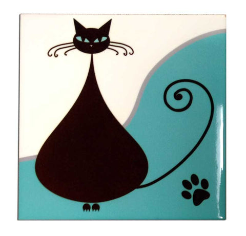 Black Funky Fat Cat Decorative Ceramic Art Tile