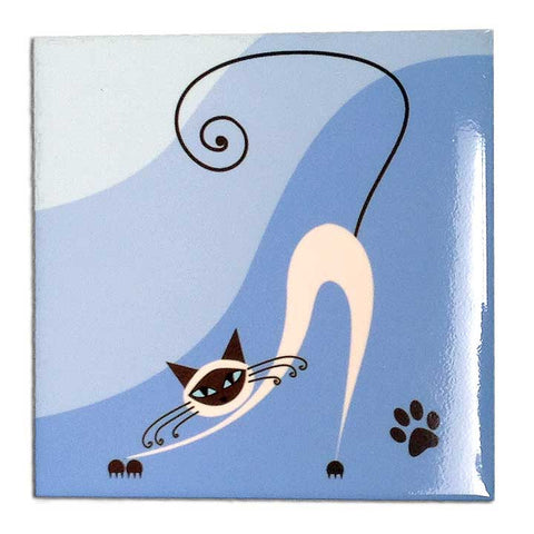 Siamese Funky Cat Decorative Ceramic Art Tile