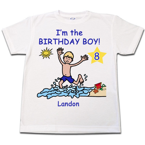 cca8b3ad Beach Party Birthday T Shirt for Boy Personalized – Mandys Moon  Personalized Gifts