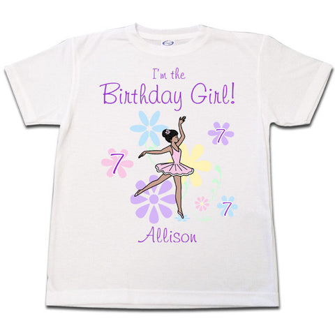 Ballet or Dance Birthday T Shirt - Dainty Floral Ballerina