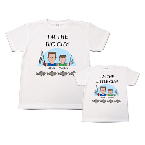 Cartoon Family Big Guy / Little Guy Fishing Shirts