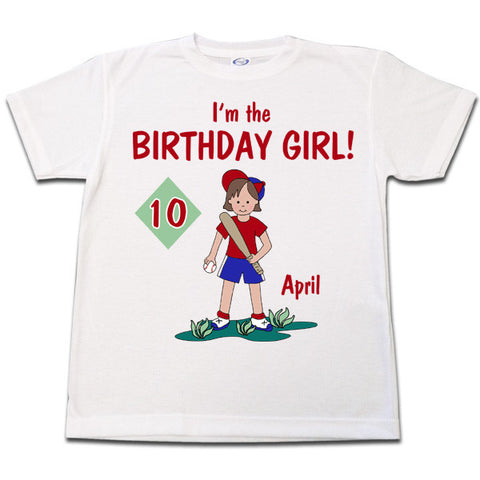 Baseball Girl Birthday T Shirt