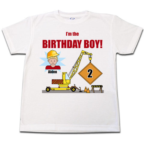 Construction Boy Birthday T Shirt