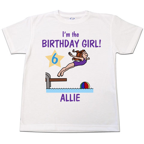 Pool or Swimming Personalized Birthday T Shirt - Girl