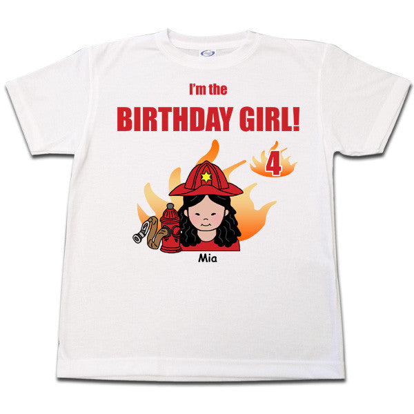 Firefighter Birthday T Shirt - Girl