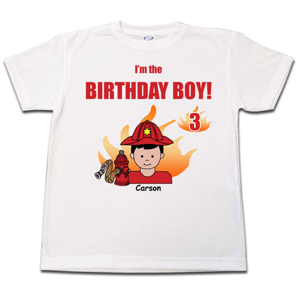 Firefighter Birthday T Shirt - Boy