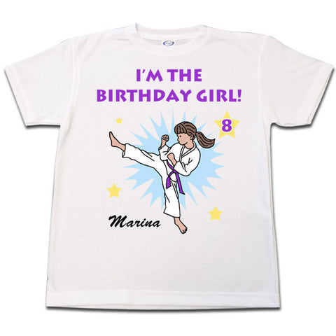 Karate or Martial Arts Girl Birthday Shirt - Kick Design