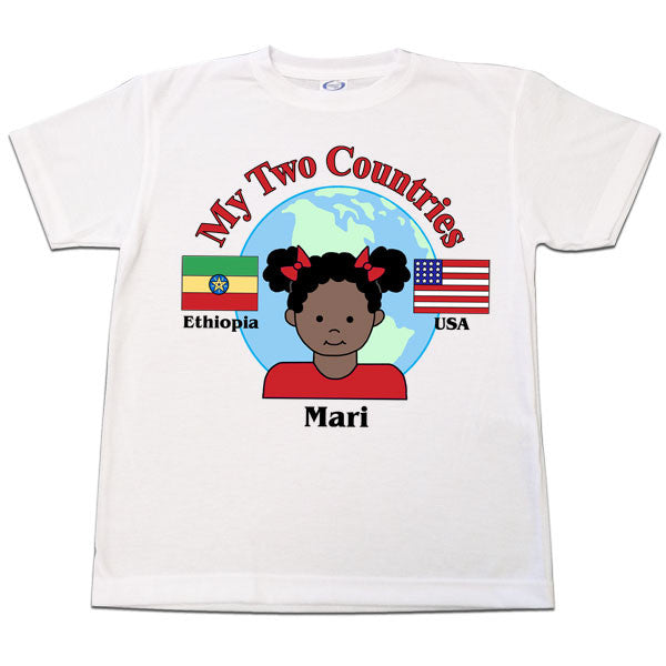 My Two Countries Adoption or Heritage T Shirt - Girl