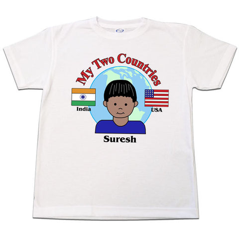 My Two Countries Adoption or Heritage T Shirt  -  Boy