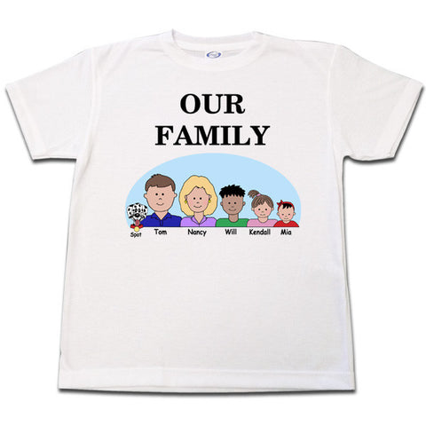 Cartoon Family T Shirt - up to 6 people and or pets