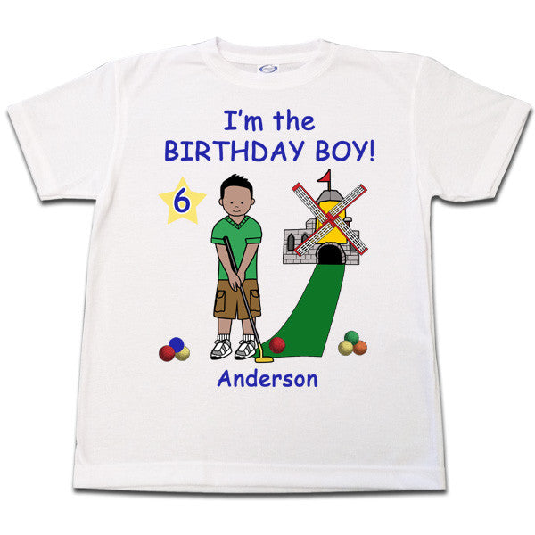 Mini Golf Birthday T Shirt (Design 2) - Boy