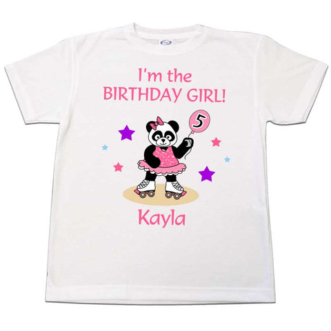 Roller Skating Panda Birthday Girl T-Shirt