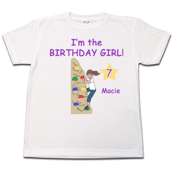 Rock Climbing Birthday T Shirt - Girl