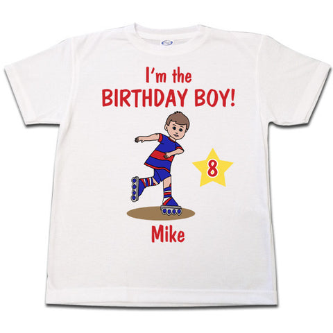 Roller Skating Boy Birthday T Shirt