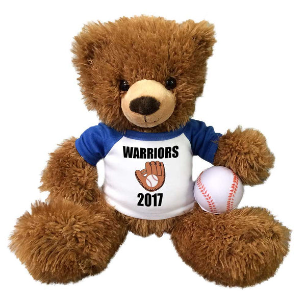 "Personalized Baseball Teddy Bear - 14"" Brown Tummy Bear"