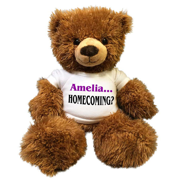 "Personalized Homecoming Teddy Bear - 14"" Fuzzy Brown Bear"