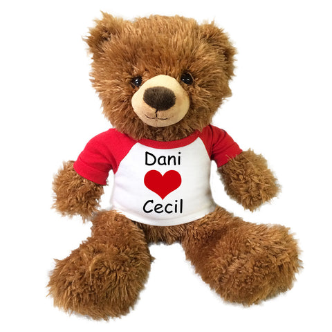 "Personalized Valentine Teddy Bear - 14"" Brown Tummy Bear"