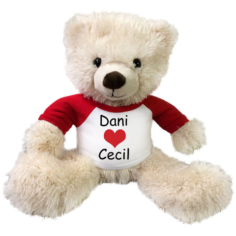 "Personalized Valentine Teddy Bear - 14"" Cream Tummy Bear"