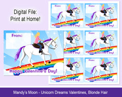 Unicorn Dreams Valentine Cards - Blonde hair - Digital Print at Home Valentines cards, Instant Download