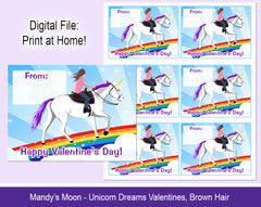 Unicorn Dreams Valentine Cards - Brown Hair - Digital Print at Home Valentines cards, Instant Download