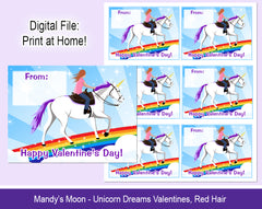 Unicorn Dreams Valentine Cards - Red Hair - Digital Print at Home Valentines cards, Instant Download