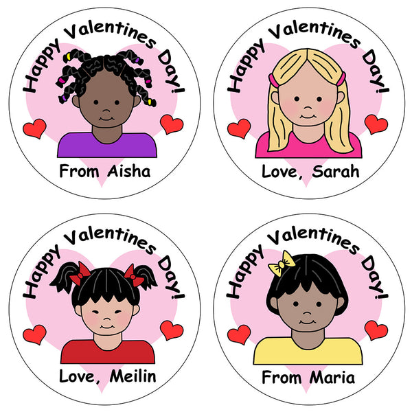 Kids Valentines Stickers - Girl