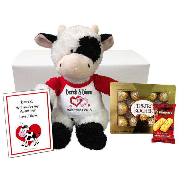 Personalized Stuffed Cow Valentines Gift Set