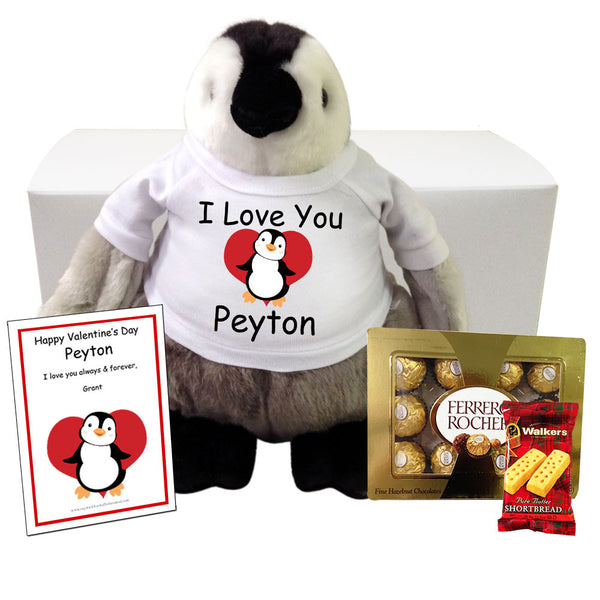 "Personalized Stuffed Penguin Valentines Gift Set - 9"" Plumpee Penguin"