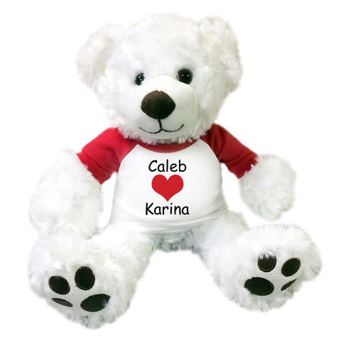 "Personalized Valentine Teddy Bear - 13"" White Vera Bear"