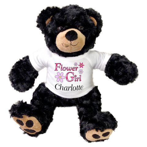 "Flower Girl Teddy Bear -  Personalized 13"" Black Vera Bear"