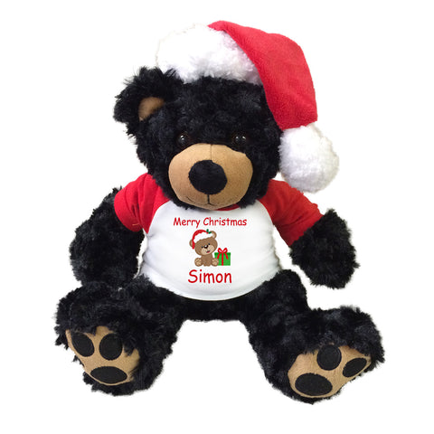 "Personalized Christmas Teddy Bear - 13"" Black Vera Bear with Santa Hat"