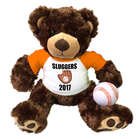 "Personalized Baseball Teddy Bear - 13"" Brown Vera Bear"