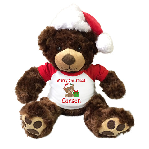 "Personalized Christmas Teddy Bear - 13"" Brown Vera Bear with Santa Hat"