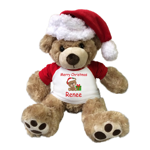 "Personalized Christmas Teddy Bear - 13"" Honey Vera Bear with Santa Hat"